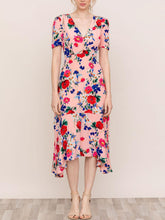 Load image into Gallery viewer, Short Sleeve Asymmetric Midi Dress