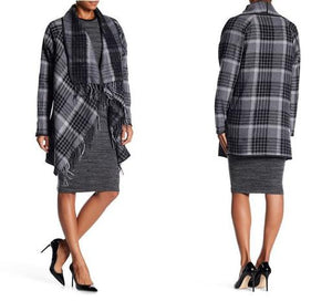 Long Sleeve Fringe-Trim Plaid Wool Coat