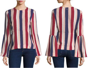 Long Bell-Sleeve Crew Neck Striped Blouse