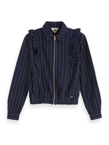 Ruffle Detail Lurex Shirt Jacket