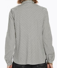 Load image into Gallery viewer, Long Sleeve Striped Pleated Button-Up Shirt