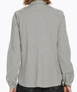 Long Sleeve Striped Pleated Button-Up Shirt