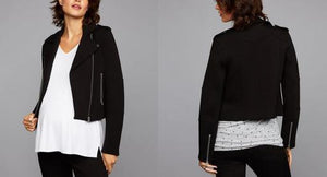 Maternity Long Sleeve Scuba Moto Jacket