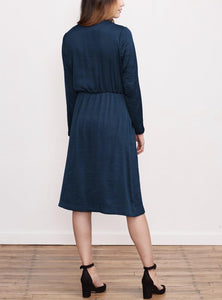 Long Sleeve V-Neck Crossover A-Line Dress