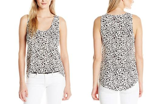 Sleeveless Scoop Neck Heart Print Silk Blouse