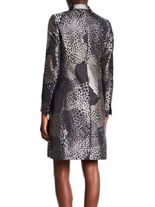 Long Sleeve Printed Long Coat with Stand-Up Collar