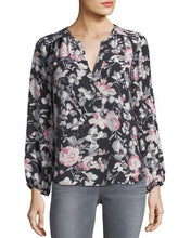 Load image into Gallery viewer, Long Bishop Sleeve Splitneck Floral Print Blouse