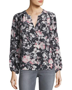 Long Bishop Sleeve Splitneck Floral Print Blouse