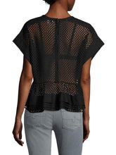 Load image into Gallery viewer, Dolman Sleeve Eyelet Layered Peplum Top