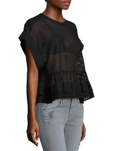 Dolman Sleeve Eyelet Layered Peplum Top