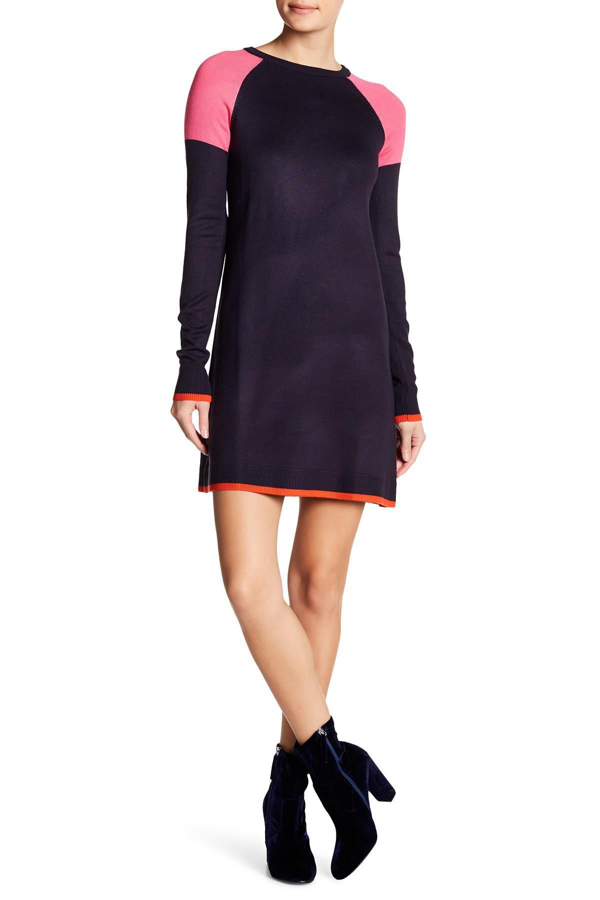 Long Sleeve Crew Neck Colorblock Sheath Dress