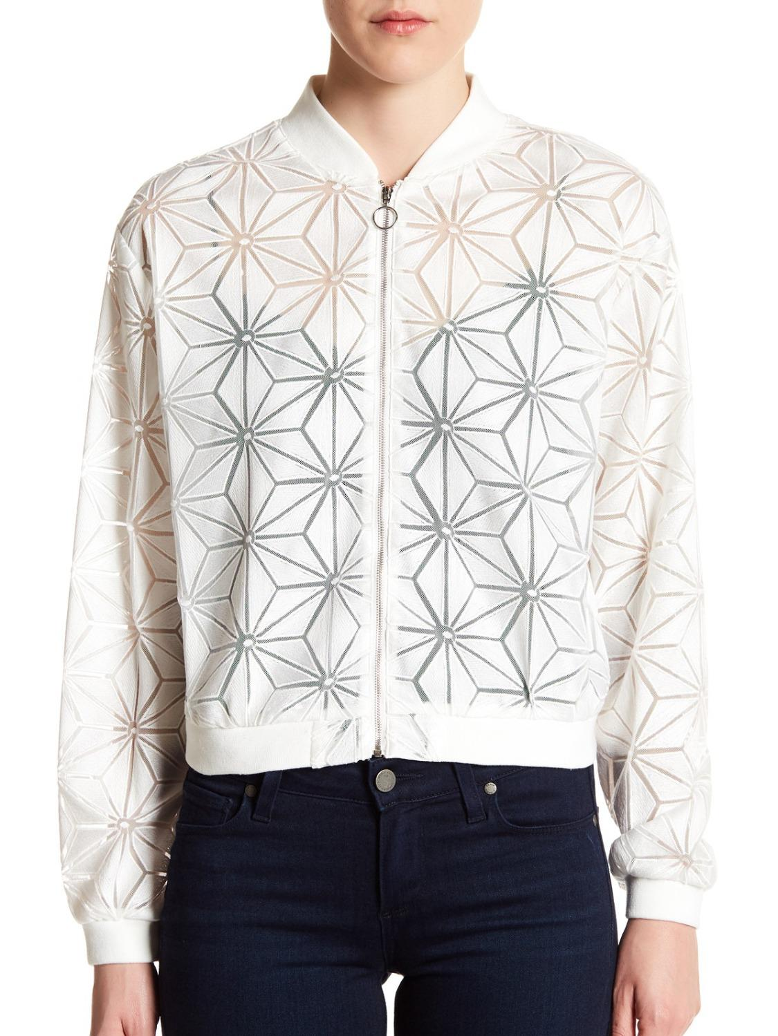 Long Sleeve Patterned Mesh Bomber Jacket