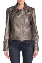 Load image into Gallery viewer, Long Sleeve Metallic Cropped Moto Jacket
