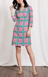 3/4 Sleeve Splitneck Printed Linen Tunic Dress