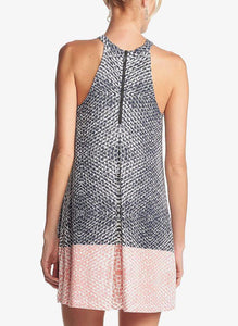 Sleeveless Back-Zip Printed Shift Dress
