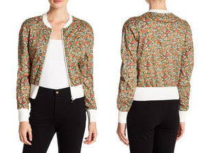 Long Sleeve Cropped Floral Bomber Jacket