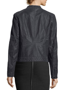 Washed Bomber Jacket with Zipper and Button Detailing