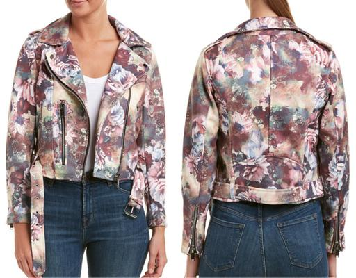 Long Sleeve Floral Print Faux Leather Moto Jacket