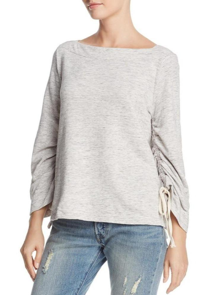 Long Adjustable Scrunched Wide Sleeves Crew Neck Sweater