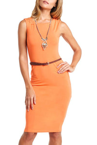 Sleeveless Crew-Neck Body Con Belted Dress