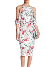 Load image into Gallery viewer, Cold Shoulder Ruffled Floral Midi Dress