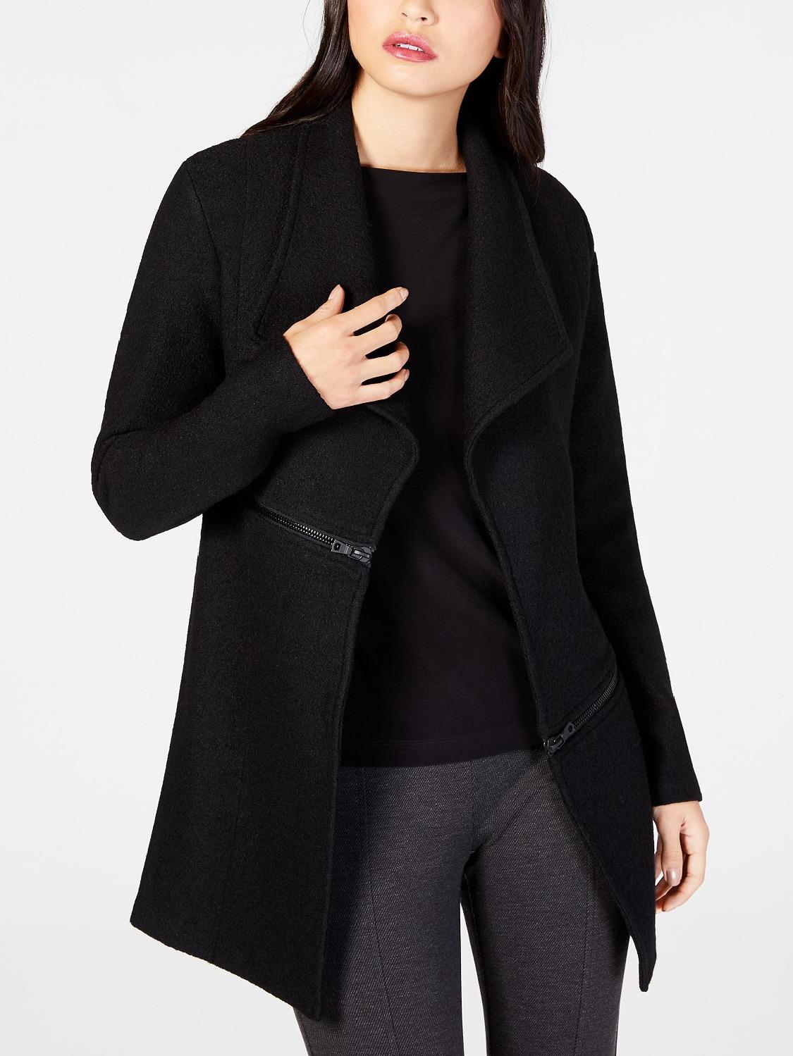 Wide lapel jacket with open front and zipper accents