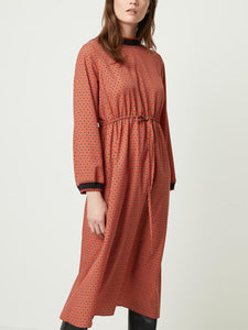 Long Sleeve Rib Trim Cinched Midi Dress