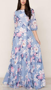 3/4 Sleeve Floral Print Flowy Maxi Dress