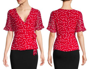 Short Sleeve V-Neck Polka Dot Blouse With Self-Tie at Waist