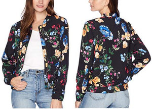 Long Sleeve Floral Print Bomber