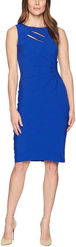 Sleeveless Neck Slash Shirred Sheath Dress