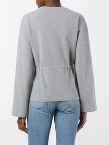 Long Sleeve Cinched Waist Sweatshirt
