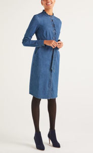 Long Sleeve Ruffle Trim Button Front Dress