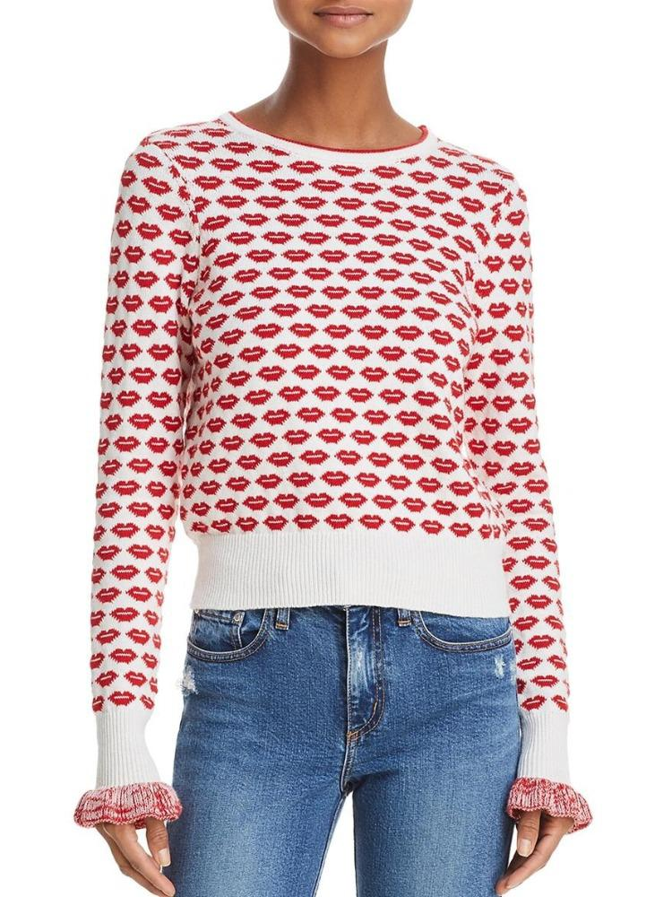 Long Sleeve Kiss Print Sweater with Ruffle Cuffs