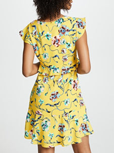Floral Flutter Cap-Sleeve V-Neck Crepe Dress