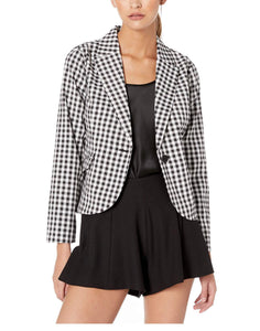 Long Sleeve One-Button Gingham Blazer