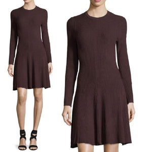 Wool Blend Ribbed-Knit Long-Sleeve Dress