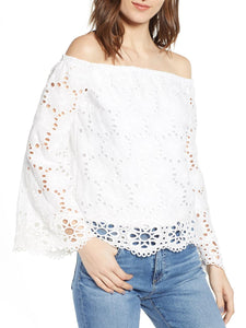 Eyelet Off the Shoulder Flare Sleeve Top