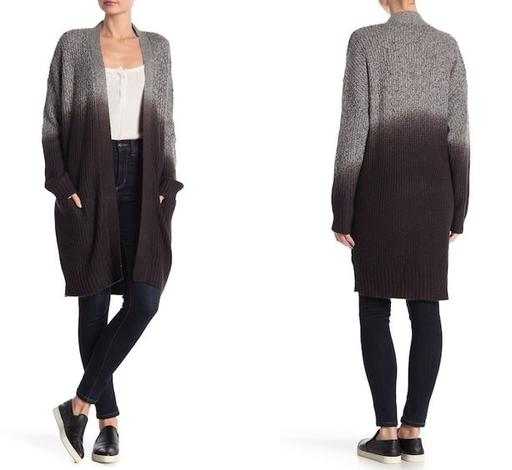Long Sleeve Ombre Long Cardigan