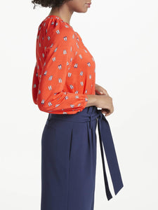 Long Sleeve Button-Up Shoe-Print Blouse