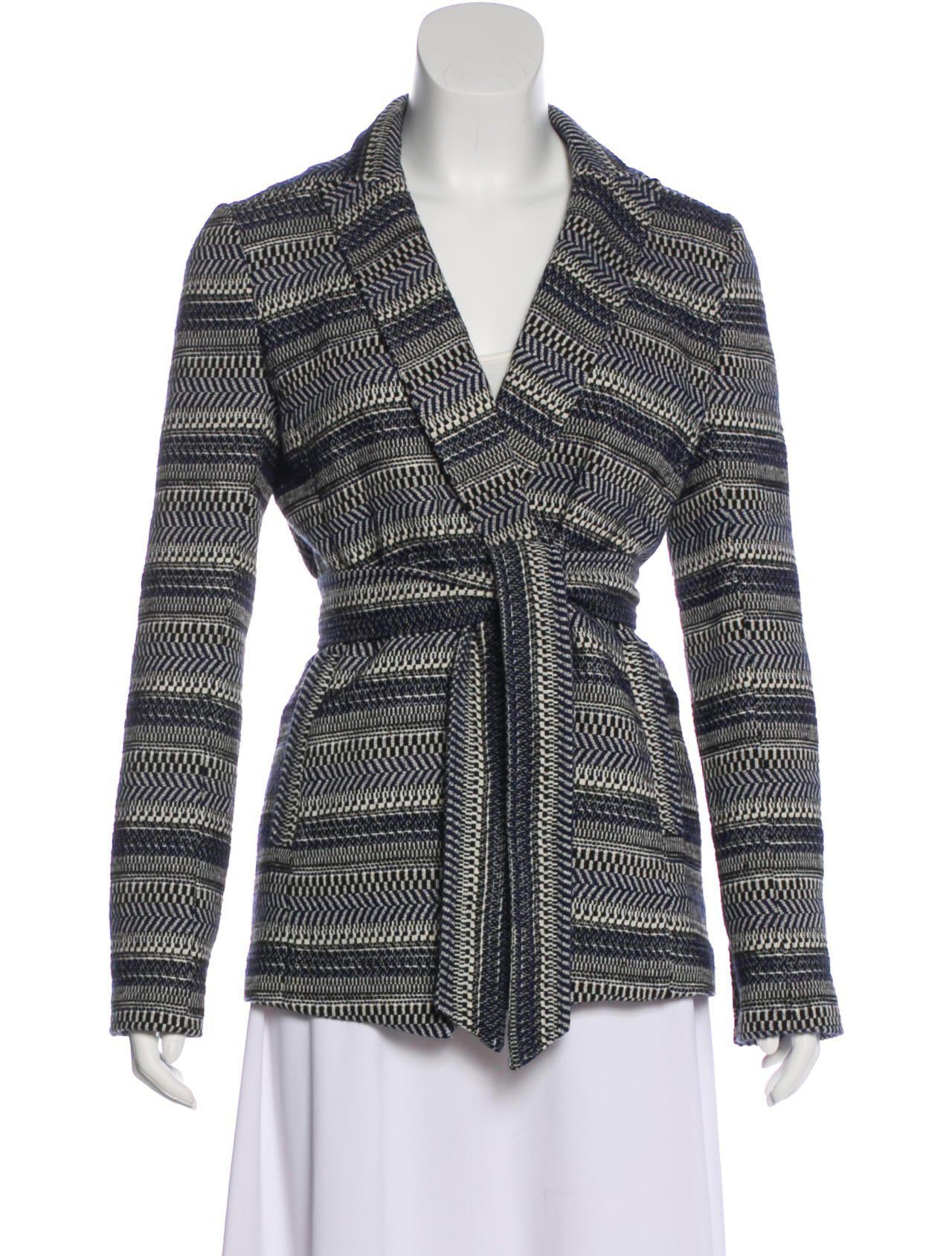 Long Sleeve Striped Knit Belted Jacket