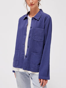 Long Sleeve Button-Up Collared Canvas Jacket
