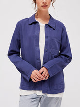 Load image into Gallery viewer, Long Sleeve Button-Up Collared Canvas Jacket