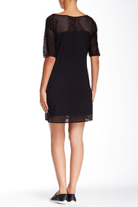 Short Sleeve Mesh Overlay Shift Dress