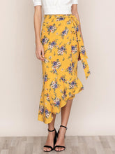 Load image into Gallery viewer, Asymmetric Faux Wrap Midi Skirt