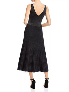 Two-Way Sleeveless Pleated Metallic Dress