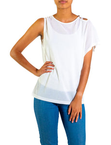 Single Short Sleeve Cold Shoulder Top
