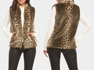 Faux Fur Animal Print Vest