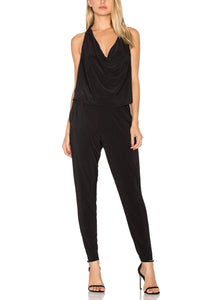 Sleeveless Cowl Halter Full Length Jumpsuit