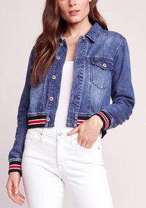 Long Sleeve Striped Hem Denim Jacket